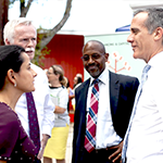 (left to right) Congresswoman Nanette Barragan, HACLA President and CEO Doug Guthrie, EWDD Interim General Manager John L. Reamer, Jr. and Los Angeles Mayor Eric Garcetti at the Wednesday September 4, 2019 press conference announcing the $3.7M Jobs Plus grant