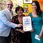 "(left to right) Council District 13 Councilmember Mitch O'Farrell presents an award to Lupita's Corner Market owners Maria ""Lupita"" Olague and her daughter Luz Arango"