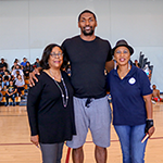 "EWDD General Manager Jan Perry, Metta World Peace and outgoing YouthSource Director Brenda Anderson at the last ""A Conversation With…"" YouthSource event"